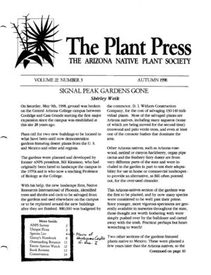Autumn 1998 The Plant Press ~ Arizona Natiave Plant Soceity