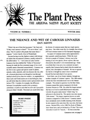 Winter 2002 The Plant Press ~ Arizona Natiave Plant Soceity