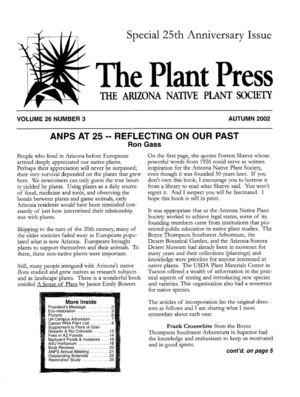 Autumn 2002 The Plant Press ~ Arizona Natiave Plant Soceity
