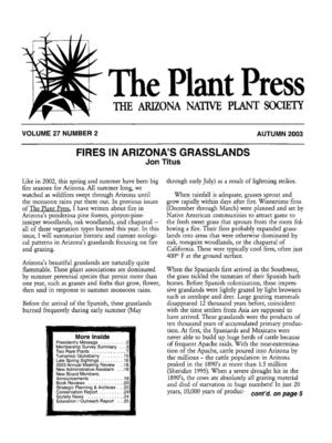 Autumn 2003 The Plant Press ~ Arizona Natiave Plant Soceity