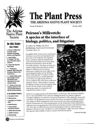 Fall 2006 The Plant Press ~ Arizona Natiave Plant Soceity