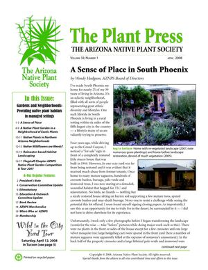 April 2008 The Plant Press ~ Arizona Natiave Plant Soceity