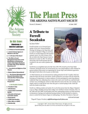 Fall 2007 The Plant Press ~ Arizona Natiave Plant Soceity