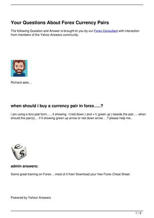 Your Questions About Forex Currency Pairs