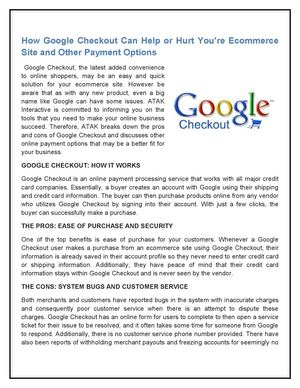 How Google Checkout Can Help or Hurt You're Ecommerce Site and Other Payment Options