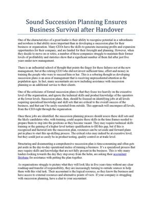 Sound Succession Planning Ensures Business Survival after Handover