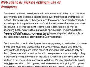 Web agencies making optimum use of Wordpress