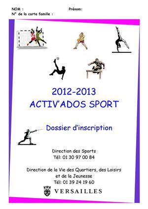 Planning sports vacances Toussaint 2012