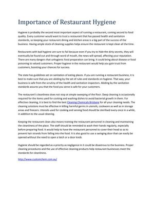 Importance of Restaurant Hygiene