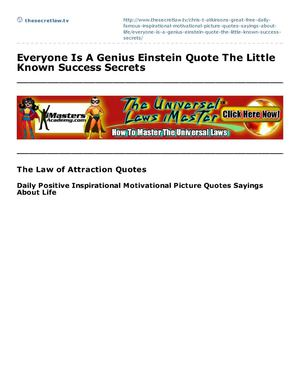 Everyone Is A Genius Einstein Quote The Little Known Success Secrets