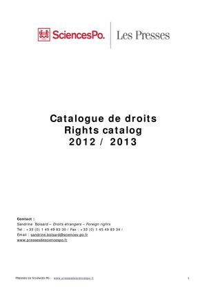 Rights catalog 2012