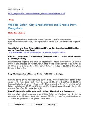 Wildlife Safari, City BreaksWeekend Breaks from Bangalore