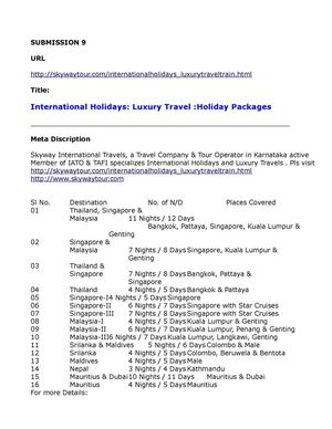 International Holidays Luxury Travel Holiday Packages