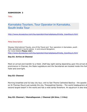 Karnataka Tourism, Tour Operator in Karnataka, South India Tour
