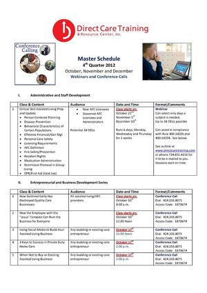Direct Care Training Master Schedule 4th Quarter 2012