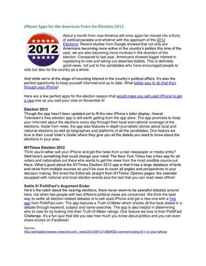 iPhone Apps for the American Voter for Election 2012