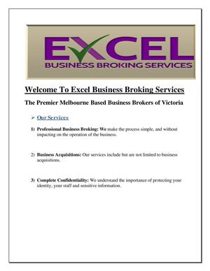 Business for Sale Melbourne|Excel Business Broking Services