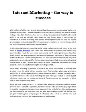 Internet marketing – the way to success