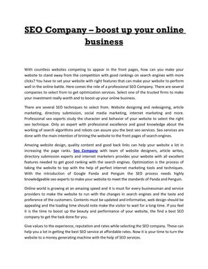 SEO Company – boost up your online business