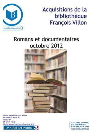 Nouvelles acquisitions romans et documentaires section adulte, octobre 2012, bibliothèque François Villon, Paris