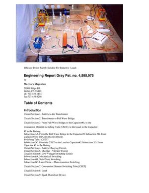 Efficient Power - Engineering Report Gray Pat No 4,595,975(Free Energy)