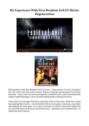 My Experience With First Resident Evil CG Movie: Degeneration