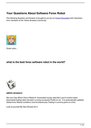 Your Questions About Software Forex Robot
