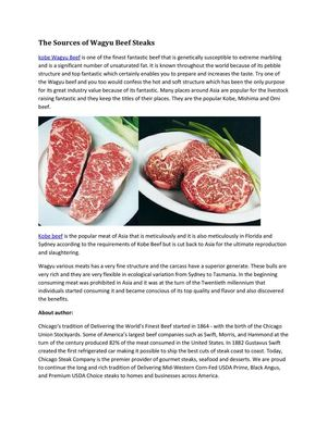 The Sources of Wagyu Beef Steaks