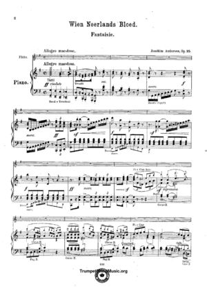 Andersen - Wien Neerlands Bloed, Op.35 - Score (Piano Reduction) And Flute Part