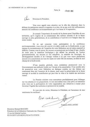 Lettre de Mr Hollande a Mr Baudin