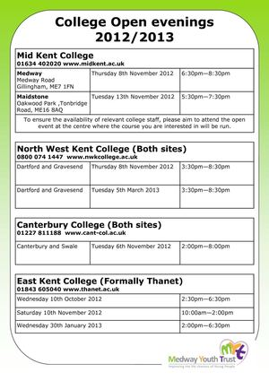 College Open Days - Kent 2012 2013