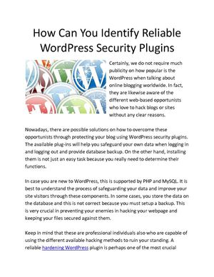 Calaméo - How Can You Identify Reliable WordPress Security