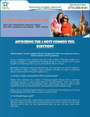 Answering The 4 Most Common TEFL Questions