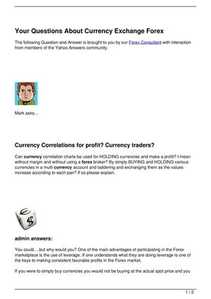 Your Questions About Currency Exchange Forex
