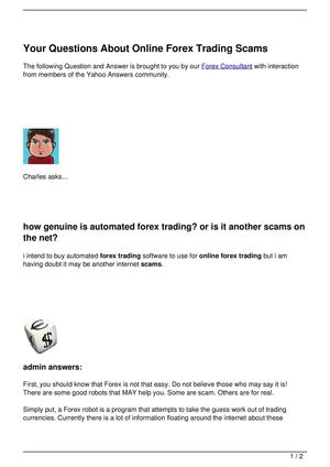 Your Questions About Online Forex Trading Scams