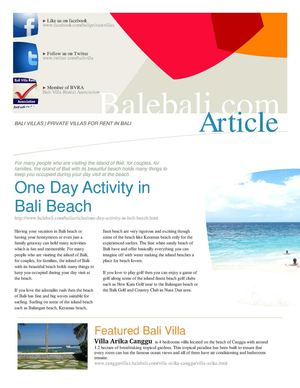 One Day Activity in Bali Beach