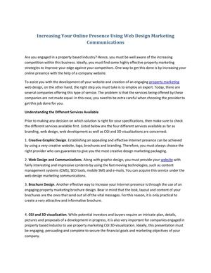 Increasing Your Online Presence Using Web Design Marketing Communications