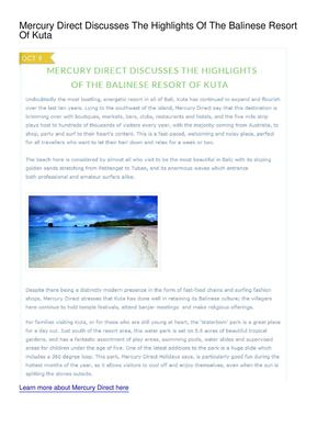 Mercury Direct Discusses The Highlights Of The Balinese Resort Of Kuta