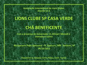 Lions Clube SP Casa Verde - Chá Beneficente - 04/10/12