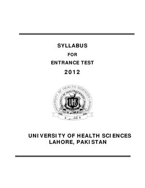 Calaméo - UHS Syllabus of Medical / Dental Colleges Entrance Test