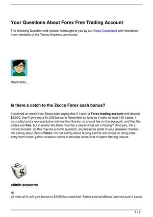 Free bonus account forex