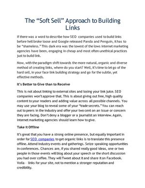 "The ""Soft Sell"" Approach to Building Links"