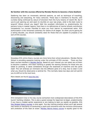 Be familiar with the courses offered by Mendez Marine to become a fame Seafarer