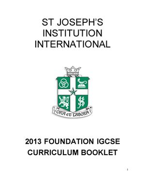 2013 Foundation IGCSE Booklet