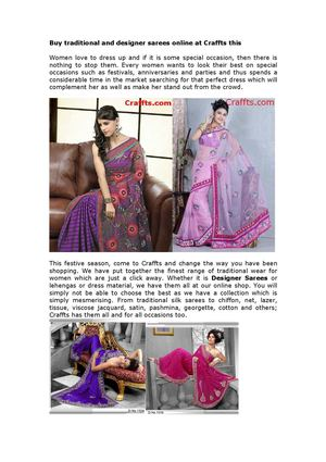 Traditional and Designer Sarees - Craffts