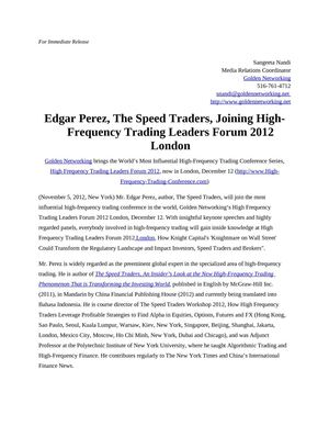 Edgar Perez, The Speed Traders, Joining High-Frequency Trading Leaders Forum 2012 London