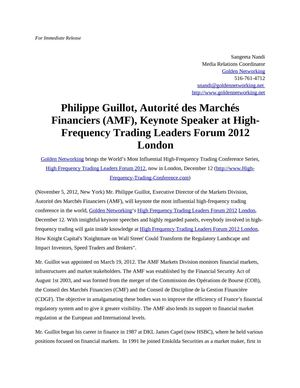 Philippe Guillot, Autorité des Marchés Financiers (AMF), Keynote Speaker at High-Frequency Trading Leaders Forum 2012 London