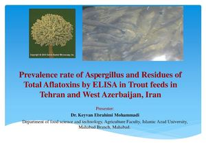 Prevalence rate of Aspergillus and Residues of Total Aflatoxins by ELISA in Trout feeds in Tehran and West Azerbaijan, Iran