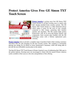Protect America Gives Free GE Simon TXT Touch Screen
