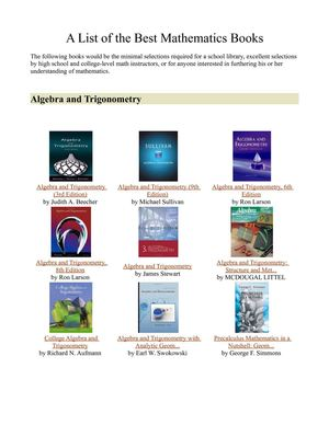 List of the Best Mathematics Books
